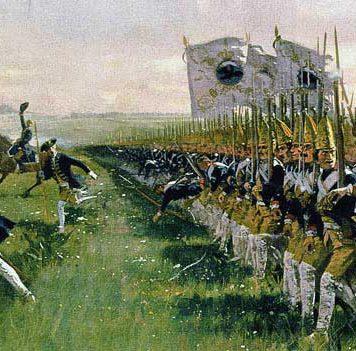 Atac del Batalló de Guàrdia Granadera prusisana, el 4 de juny de 1745 a Hohenfriedeberg, Guerra de Successió austríaca. Pintura de 1913 Foto: Wikimedia Commons