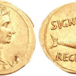 Auri (moneda d'or) d'August, amb Capriconr al revers. font: moneteimperialiromane.it