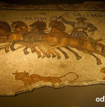 Detall d'una quadriga del mosai de Bell-lloc del Pla. MAC Girona.