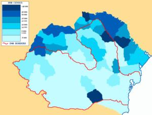 Percentatge de jueus romanesos segons els judets (províncies).