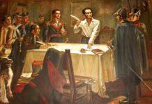 Simón Bolívar signar el decret de guerra a mort