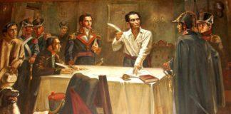 Simón Bolívar signant el decret de guerra a mort. Foto: Wikimedia Commons