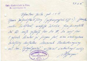 Aquesta és la targeta amb anotacions d'Aspenger que fan referència a Herta Schreiber
