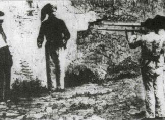 """Soldats piemontesos afusellant el """"rebels"""" Vincenzo Petruzziello, pels fets deMontefalcione, al juliol de 1861. Foto: Wikimedia Commons"""