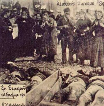 Víctimes gregues del genocidi turc a Esmirna després de l'incendi de 1922. Turquia mai ha reconegut aquests fets, com tampoc el genocidi Armeni. Es calcula que van exterminar entre 600.000 i 900.000 grecs pòntics entre els anys immediatament anteriors i posterior a la PGM. Foto: Wikimedia Commons