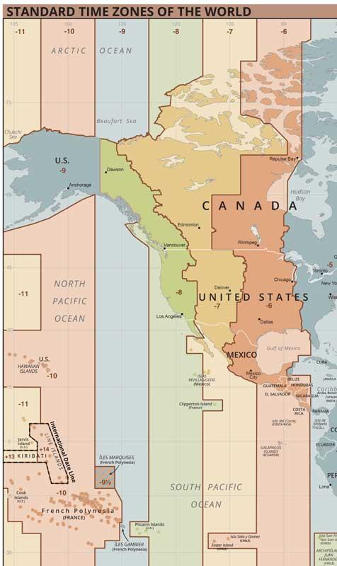 El d'Alaska va ser un altre curiós. Va ser comprada a Rússia pels Estats Units el 1856, pel que fins lavors les fronteres horàries coincidien amb Canadà. Però amb el canvi de sobirania la franja es va moure a les illes Diòmedes. Per tant, Alaska va passar de la ser al fus huso horari GMT + 14 al GMT -9. Si fins llavors s'havia fet el salt respectant els dies de la setmana (passant e dijous a divendres per exemple) aquesta vegada pel canvi horari no, es va passar de divendres 6 d'octubre a divendres 18 d'octubre. Una setmana de 8 dies. Foto: Wikimedia Commons