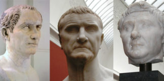 Els membres del primer triumvirat: Pompeu, Cras i Juli Cèsar. Imatge: Wikimedia Commons