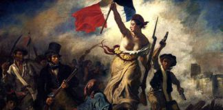 La llibertat guiant el poble, pintura de Eugène Delacroix. de 1830 que recrea els fets de juliol del mateix any. Foto: Wikimedia Commons