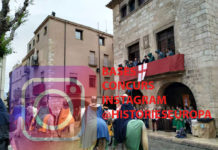 Cavallers desfilant pel davant del casal Desclergue de Montblanc durant la Setmana de Sant Jordi. Al fina lde l'article trobareu les bases del concurs. Foto: Històries d'Europa