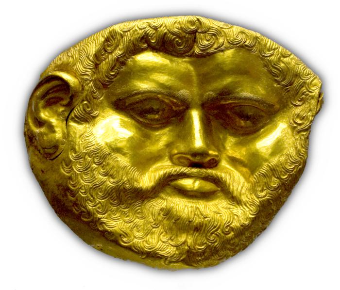 Màscara d'or de 673gr trobada al túmol de Svetitsa (Bulgaria). Font: wikimedia.