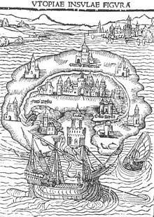 Portada del llibre Utopia (1516). Thamas More descrivia una societat ideal a una illa. La guerra era mal vista. No era vàlid allò que s'havia aconseguit mitjançant el vessament de sang. Foto: Wikimedia Commons