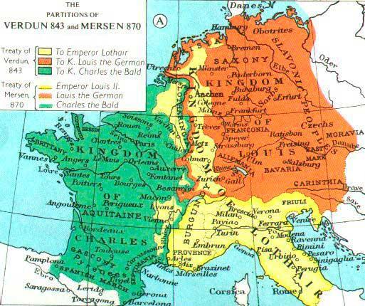 Als tractats de Verdun i Mersen l'imperi es dividí entre els tres fills vius en tres grans franges. A grans trets, d'esquerra a dreta: l'actual territori de França, incloent-hi una part del Mosel, seria pel petit Carles el Calb; una llarga franja central per Lotari que a més a més s'emportava el premi gros del títol imperial, i la part més oriental per Lluís el Germànic que es correspondria més o menys amb l'actual Alemanya, Àustria, Txèquia i Eslovàquia i part de Polònia. D'aquestes tres franges la que portarà més conflictes serà la central, la lotaríngia des de la seva mateixa formació al tractat de Verdun, on tant Carles com Lluís varen intentar expandir-se a costa del germà Lotari. Foto: Wikimedia Commons, domini públic