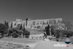Vista del turó de l'Acròpolis d'Atenes des del sud (autor: Eugeni Junyent)